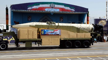 A new Iranian long-range missile is displayed during a military parade in Tehran in September.
