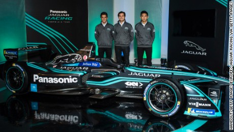 Mitch Evans (left), Piquet Jr and Ho-Pin Tung (reserve driver) pose with Jaguar's new ITYPE2 car