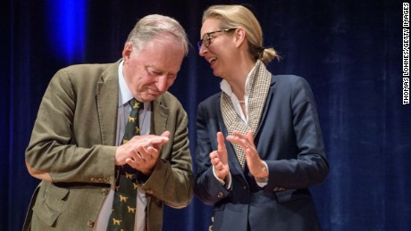 Alexander Gauland and Alice Weidel, co-lead candidates for the AfD in Sunday's election
