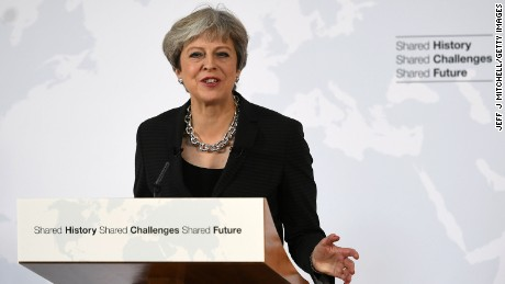 British Prime Minister Theresa May gives her landmark Brexit speech in Florence, Italy, on Friday.