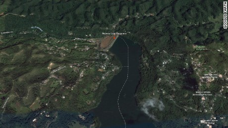Google Earth image of the Guajataca Dam in Puerto Rico.