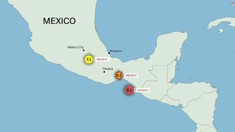 mexico has had three earthquakes greater than 60 magnitude since september 8
