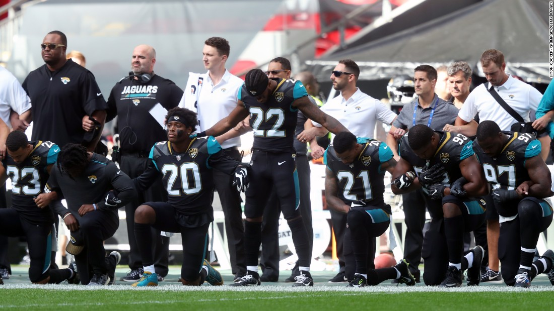 Jacksonville Jaguars players kneel during the National Anthem before the NFL International Series match at Wembley Stadium, London.