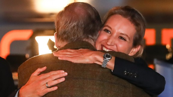 Alice Weidel and Alexander Gauland, co-lead candidates of the Alternative for Germany (AfD) celebrate after the announcement of the initial results of the federal election on September 24