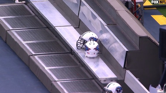 An empty Tennessee Titans bench during the national anthem for their game with the Seahawks.