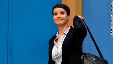 Leadership member of the hard-right party AfD (Alternative für Deutschland) Frauke Petry leaves a press conference of her party on the day after the German General elections on September 25, 2017 in Berlin, where she said she refused to join the AfD party's parliamentary group.  