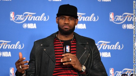 OAKLAND, CA - JUNE 12: LeBron James #23 of the Cleveland Cavaliers speaks at the press conference after his teams 129-120 loss to the Golden State Warriors in Game 5 of the 2017 NBA Finals at ORACLE Arena on June 12, 2017 in Oakland, California. NOTE TO USER: User expressly acknowledges and agrees that, by downloading and or using this photograph, User is consenting to the terms and conditions of the Getty Images License Agreement.  (Photo by Thearon W. Henderson/Getty Images)
