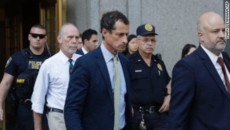 Former Congressman Anthony Weiner (D-N.Y.), center, leaves federal court following his sentencing, Monday, Sept. 25, 2017, in New York. Weiner was sentenced to 21 months in a sexting case that rocked the presidential race.