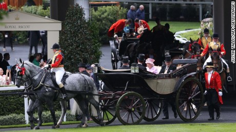 Queen Elizabeth and Prince Philip, Duke of Edinburgh, arrive by carriage to the Royal Ascot horse race on  June 15, 2016.