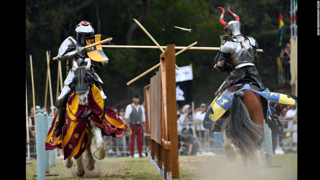 Britain's Dominic Sewell, left, competes against Norway's Per Estein Prois-Rohjell during the inaugural World Jousting Championship on Saturday, September 23. The tournament took place in Sydney.