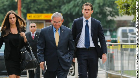 NEWARK, NJ - SEPTEMBER 06: U.S. Sen. Robert Menendez (D-NJ) arrives at federal court for his trial on corruption charges accompanied by son Robert Jr, and daughter Alicia Menendez on September 6, 2017 in Newark, New Jersey. (Photo by Eduardo Munoz Alvarez/Getty Images)