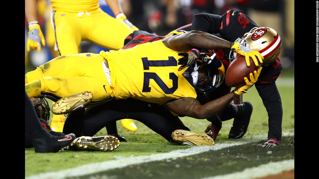 Los Angeles Rams wide receiver Sammy Watkins stretches the ball across the goal line during an NFL game at San Francisco on Thursday, September 21. Watkins scored twice in the Rams' 41-39 victory.