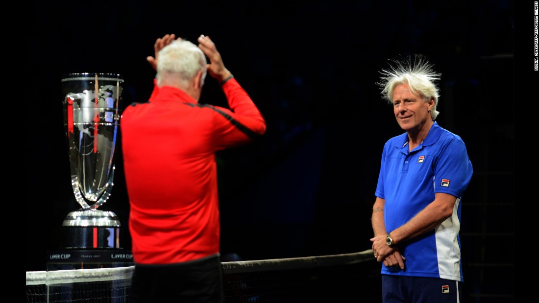 Tennis legends John McEnroe, left, and Bjorn Borg share a lighthearted moment about Borg's hair at the start of the Laver Cup on Friday, September 22. McEnroe was the captain for Team World, while Borg captained Team Europe.