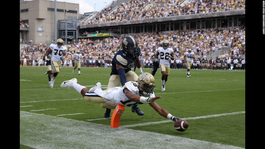 Georgia Tech quarterback TaQuon Marshall dives into the end zone during a home game against Pittsburgh on Saturday, September 23. Marshall had two rushing touchdowns as Georgia Tech won its ACC opener 35-17.