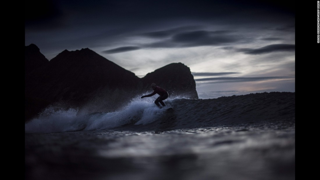 "Norwegian surfer Sturla Fagerhaug rides a wave during a night session of the Lofoten Masters, the world's northernmost surfing competition, on Friday, September 22. The event was held in Norway's Unstad Bay, which is within the Arctic Circle. <a href=""http://www.cnn.com/2017/09/18/sport/gallery/what-a-shot-sports-0919/index.html"" target=""_blank"">See 29 amazing sports photos from last week</a>"