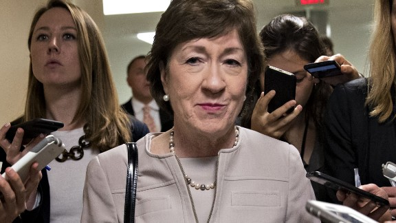 Senator Susan Collins, a Republican from Maine, speaks to members of the media in the basement of the U.S. Capitol in Washington, D.C., U.S., on Tuesday, Sept. 19, 2017. Senate Republicans making one last-ditch effort to repeal Obamacare have the daunting task of assembling 50 votes for an emotionally charged bill with limited details on how it would work, what it would cost and how it would affect health coverage -- all in 12 days. Photographer: Andrew Harrer/Bloomberg via Getty Images