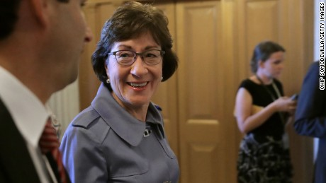 WASHINGTON, DC - JULY 26:  U.S. Sen. Susan Collins (R-ME) heads for the Senate Floor for a vote at the U.S. Capitol July 26, 2017 in Washington, DC. GOP efforts to pass legislation to repeal and replace the Affordable Care Act, also known as Obamacare, were dealt setbacks when a mix of conservative and moderate Republican senators joined Democrats to oppose procedural measures on the bill.  (Photo by Chip Somodevilla/Getty Images)