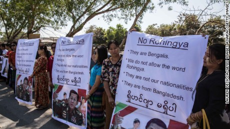 "Ma Ba Tha, Buddhist extremists, protest the use of the word ""Rohingya"" as a Rakhine donation ship from Malaysia arrives on February 9, 2017 in Yangon, Myanmar."