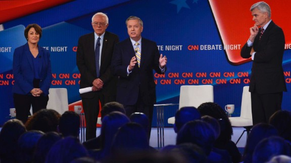 9/25/17, CNN, Washington, D.C. Sens. Bill Cassidy (R-La.), Lindsey Graham (R-S.C.), Amy Klobuchar (D-Minn.), and Bernie Sanders (I-Vt.) speak at a CNN townhall debate on healthcare at the CNN headquarters in Washington, D.C. on Sept. 25, 2017. Gabriella Demczuk / CNN