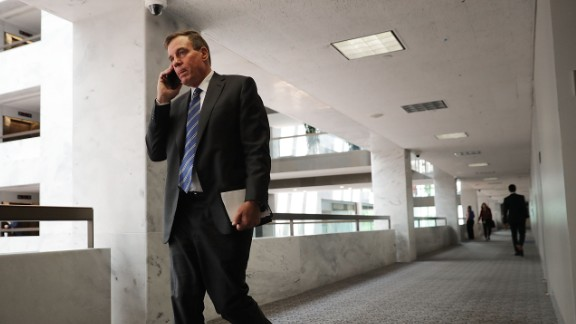 WASHINGTON, DC - JULY 20:  Senate Intellignece Committee ranking member Sen. Mark Warner (D-VA) arrives for a closed door session in the Hart Senate Office Building on Capitol Hill July 20, 2017 in Washington, DC. (Chip Somodevilla/Getty Images)