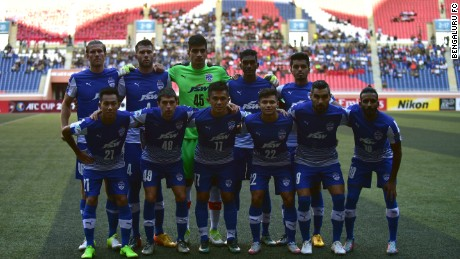 Bangaluru FC line up before their semifinal in the AFC Cup.