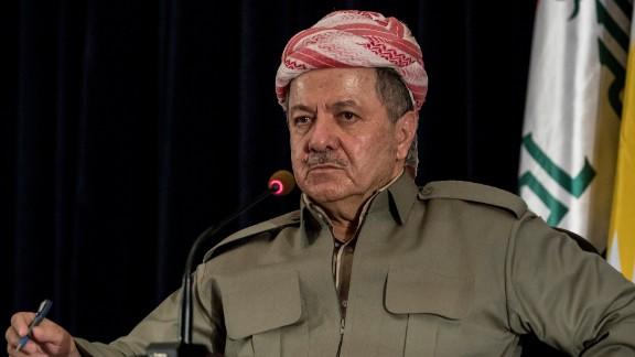 Iraqi Kurdistan President Masoud Barzani speaks to the media on September 24, 2017, in Erbil, Iraq.