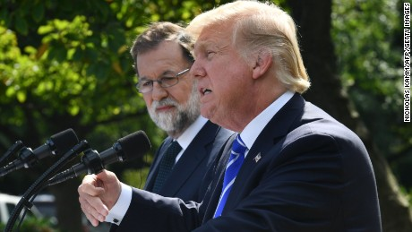 US President Donald Trump holds a joint press conference with Spanish Prime Minister Mariano Rajoy in the Rose Garden of the White House in Washington, DC, September 26, 2017.