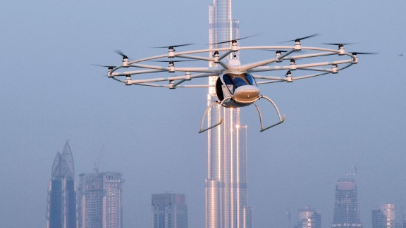 The 18-rotor Volocopter on a test flight in Dubai in September 2017. The autonomous vehicle has a cruising speed of 30mph and is being explored as a future taxi service for the city.