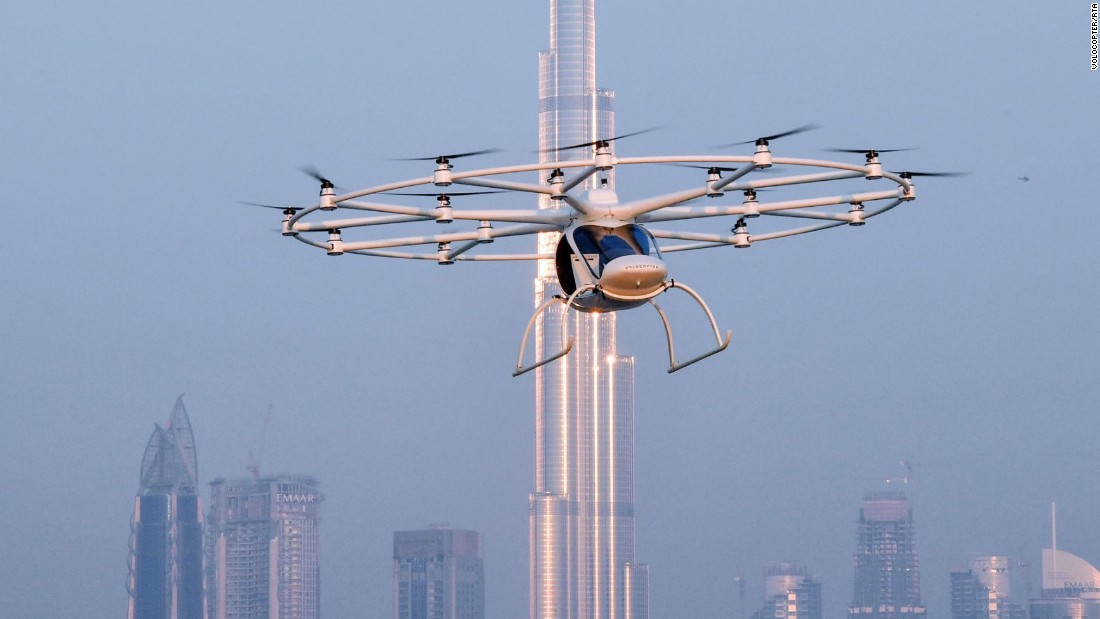 "Dubai is a playground for future transport prototypes. The 18-rotor autonomous Volocopter was trialled in the emirate in 2017 and reportedly has a flight time of 30 minutes and cruising speed of 30 mph -- enough to get you from the airport to the Burj Al Arab with time to spare.<strong> <a href=""/2017/11/29/middleeast/dubai-transport-revolution-global-gateway-episode-four/index.html"" target=""_blank""><strong></strong>Read more.</a></strong>"