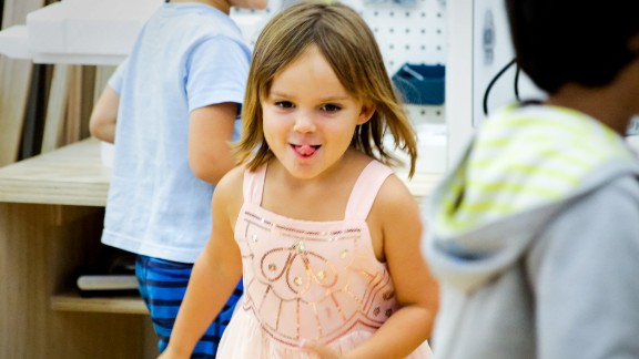 A little girl plays at the Portfolio school, which opened a year ago.