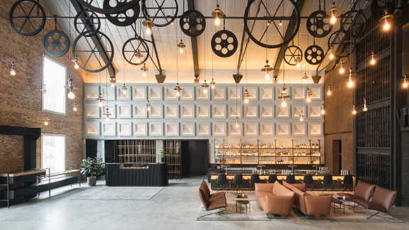The interior of the Warehouse Hotel was designed by Asylum design firm, who took care to preserve the building's history.