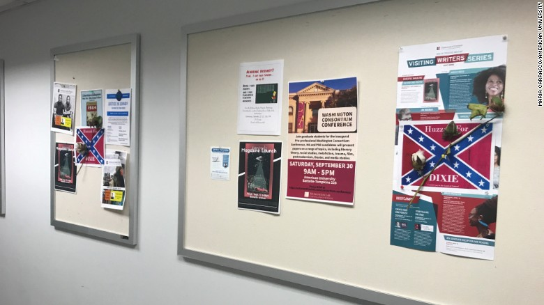 Confederate flag posters, with cotton stems attached, is found on ...