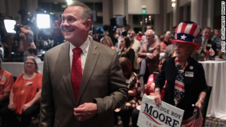 MONTGOMERY, AL - SEPTEMBER 26:  Republican candidate for the U.S. Senate in Alabama, Roy Moore, greets guests after arriving at an election-night rally on September 26, 2017 in Montgomery, Alabama. Moore, former chief justice of the Alabama supreme court, is in a primary runoff contest against incumbent Luther Strange for the seat vacated when Jeff Sessions was appointed U.S. Attorney General by President Donald Trump.   (Photo by Scott Olson/Getty Images)