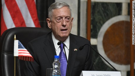 "US Defense Secretary Jim Mattis speaks during a press conference with Indian Defence Minister Nirmala Sitharaman after meeting in New Delhi on September 26, 2017. The United States want to resolve the escalating nuclear crisis with North Korea diplomatically, Defense Secretary Jim Mattis said September 26. ""We maintain the capability to deter North Korea's most dangerous threats but also to back up our diplomats in a manner that keeps this as long as possible in the diplomatic realm,"" he said in New Delhi after talks with India's defence minister. / AFP PHOTO / PRAKASH SINGH        (Photo credit should read PRAKASH SINGH/AFP/Getty Images)"