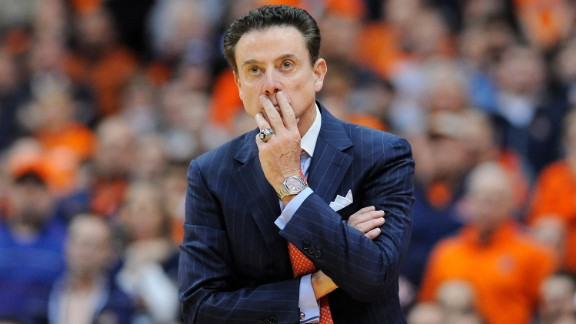 Head coach Rick Pitino of the Louisville Cardinals looks on against the Syracuse Orange during the second half at the Carrier Dome on February 13 in Syracuse, New York.