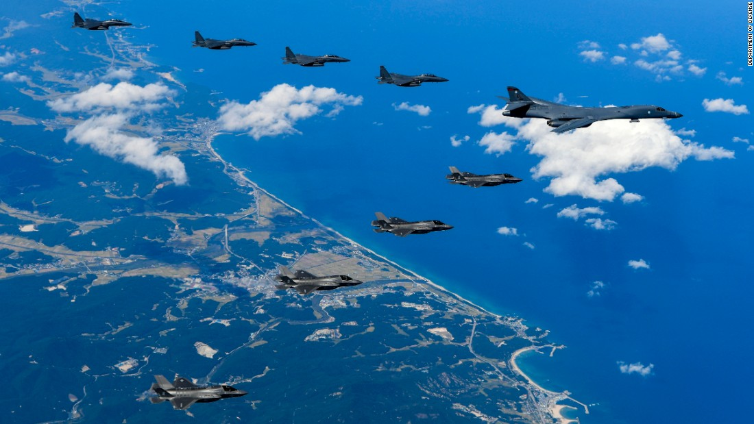 Fighter jets from the United States and South Korea fly together during a training exercise in Gangwon-do, South Korea, on Monday, September 18.