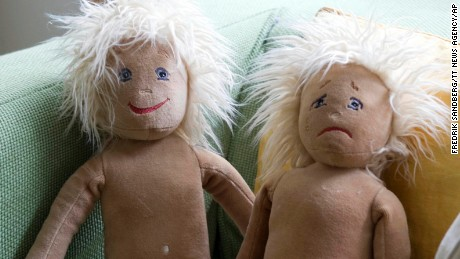 "Two ""Emotion dolls"" at the gender-neutral Egalia preschool in Sweden."