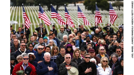 Veterans recite the Pledge during a Memorial Day ceremony at the Golden Gate National Cemetery in San Bruno, California.