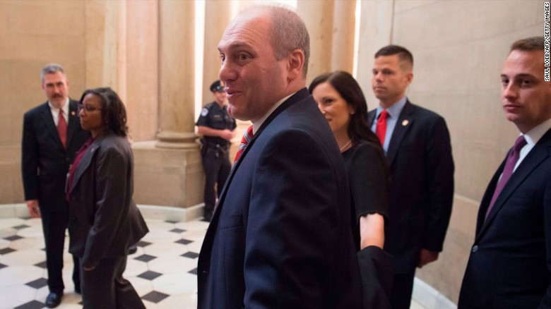 US Majority Whip Representative Steve Scalise, Republican of Louisiana, walks through Statuary Hall at the US Capitol in Washington, DC, September 28, 2017, as he returns to work after being injured in a shooting at the Republican Congressional baseball team practice on June 14.