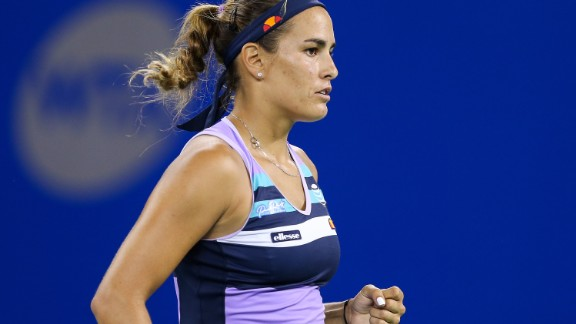 Monica Puig is pictured in action at the Wuhan Open.