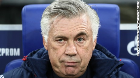 GELSENKIRCHEN, GERMANY - SEPTEMBER 19: Coach Carlo Ancelotti of Bayern Muenchen (l) before the Bundesliga match between FC Schalke 04 and FC Bayern Muenchen at Veltins-Arena on September 19, 2017 in Gelsenkirchen, Germany. (Photo by Alex Grimm/Bongarts/Getty Images)