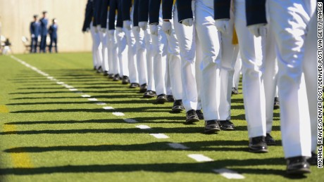 COLORADO SPRINGS, CO - JUNE 2:  Cadets march into the stadium for the United States Air Force Academy 58th graduation commencement on June 2, 2016 at Falcon Stadium.  (Photo by Michael Reaves/The Denver Post via Getty Images)