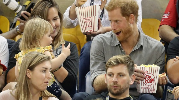 TORONTO, ON - SEPTEMBER 27:  Hayley Henson and daughter Emily Henson sit with Prince Harry at the Sitting Volleyball Finals during the Invictus Games 2017 at Mattamy Athletic Centre on September 27, 2017 in Toronto, Canada.  (Photo by Chris Jackson/Getty Images for the Invictus Games Foundation)