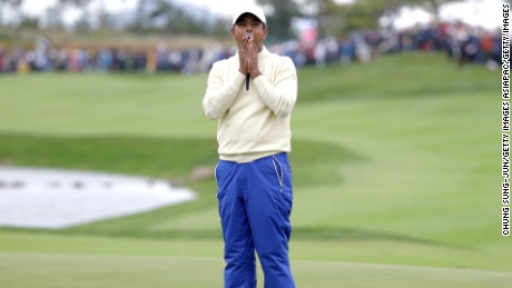 Anirban Lahiri reacts to missing a crucial putt on the 18th green and losing his singles matche at the Presidents Cup two years ago in South Korea.