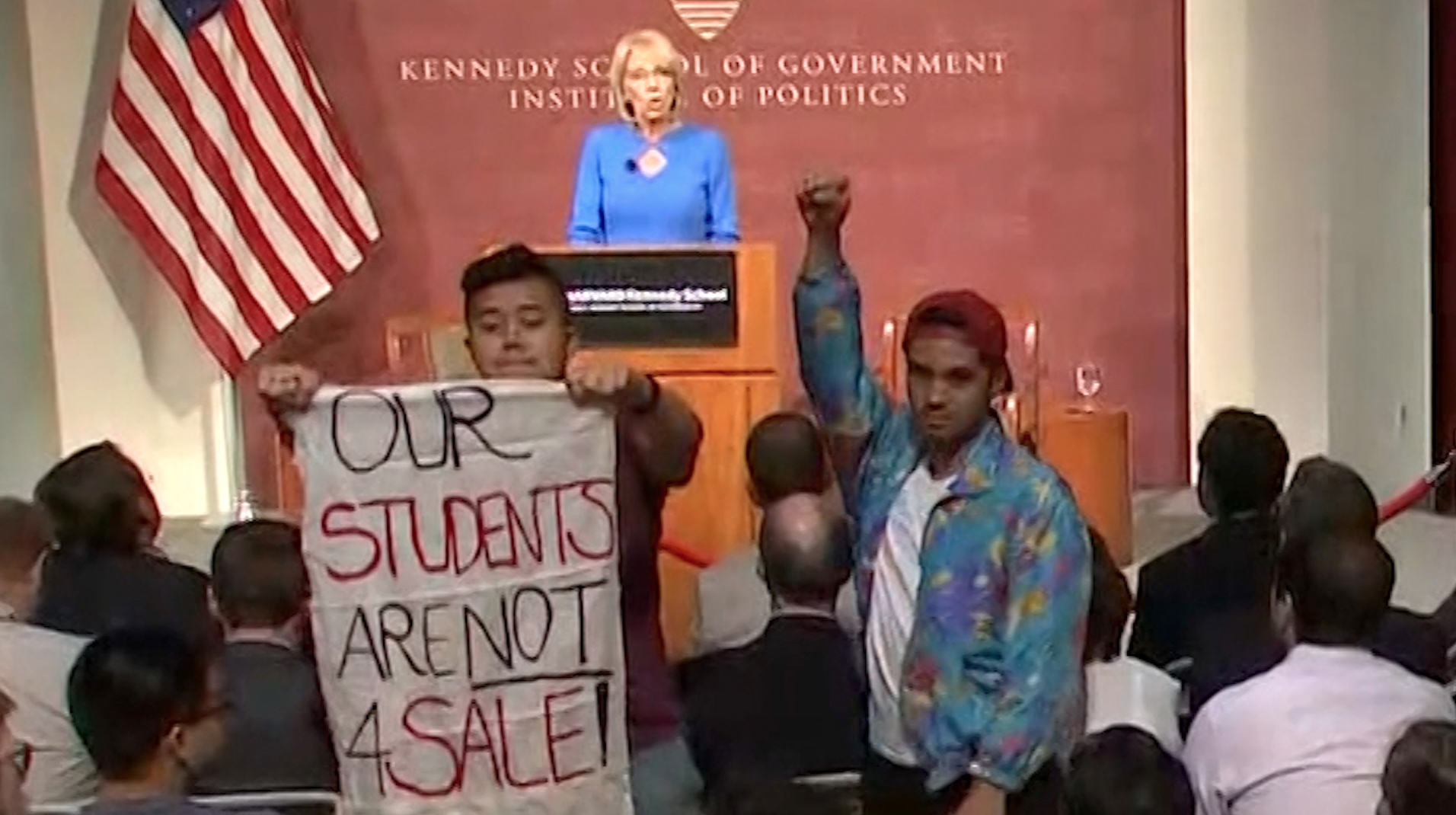 Image result for betsy devos - harvard students protest