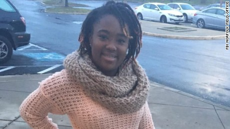 19 year old Ashanti Billie has been missing since September 18th.  According to the FBI in Norfolk, Virginia, she was last seen entering the Joint Expeditionary Base at Little Creek around 5am to report for work. She worked at a sandwich shop on base. The FBI says she never reported for work, and never reported to her college classes that day.  Her car, a 2014 Mini Cooper with Maryland tags, was detected on video camera leaving the base around 5:30a that morning, but the FBI says it cannot confirm that she was driving the vehicle at the time.  Billieís cell phone was recovered from a dumpster the day of her disappearance. Her vehicle was found a few days later in a residential neighborhood about 6 miles from the base.