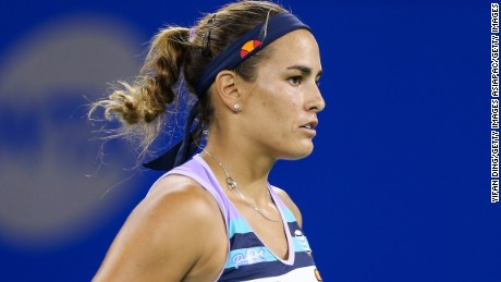 WUHAN, CHINA - SEPTEMBER 26:  Monica Puig of Puerto Rico reacts during the second round Ladies Singles match against Peng Shuai of China on Day 3 of 2017 Dongfeng Motor Wuhan Open at Optics Valley International Tennis Center on September 26, 2017 in Wuhan, China.  (Photo by Yifan Ding/Getty Images)