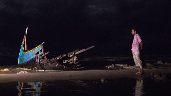 Part of a boat washed up on the beach after capsizing off Bangladesh.  (Paula Bronstein/Getty Images)