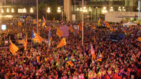Thousands of Catalonian separatists demonstrated in central Barcelona on Friday night.