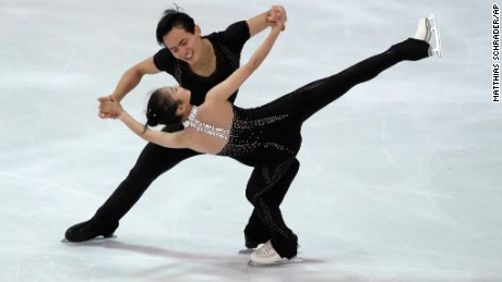 Ryom Tae-Ok and Kim Ju-Sik of North Korea compete during the pairs free program at the Figure Skating-ISU Challenger Series in Oberstdorf, Germany, on September 29.